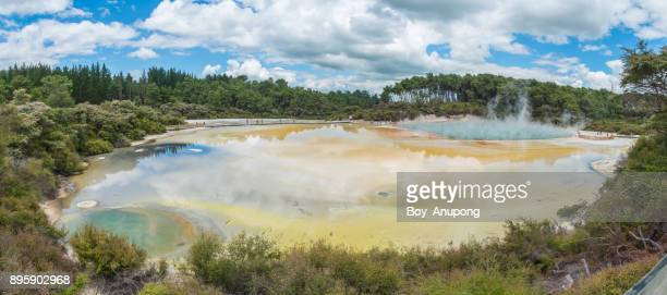 The panorama view of Artist's palette and Champagne pool in Wai O Tapu thermal wonderland in New Zealand.