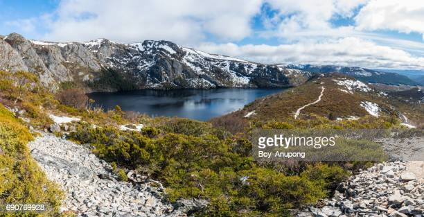 The panorama view of Crater lake in Cradle mountain national park of Tasmania state of Australia.