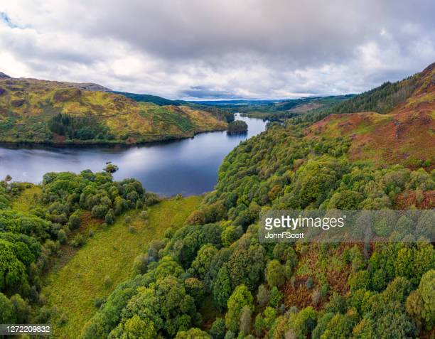 the panoramic view from a drone of a scottish loch and woodland in dumfries and galloway on an overcast day - dumfries and galloway stock pictures, royalty-free photos & images