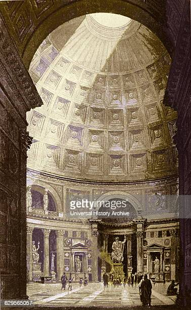 The Pantheon building in Rome Italy on the site of an earlier building commissioned by Marcus Agrippa during the reign of Augustus The present...