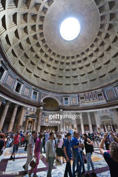 the pantheon in rome, interior view - pantheon rome stock photos and pictures