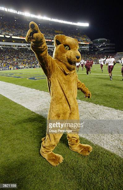 The Panther the mascot for the Pittsburgh Panthers performs before the game against the Virginia Tech Hokies on November 8 2003 at Heinz Field in...