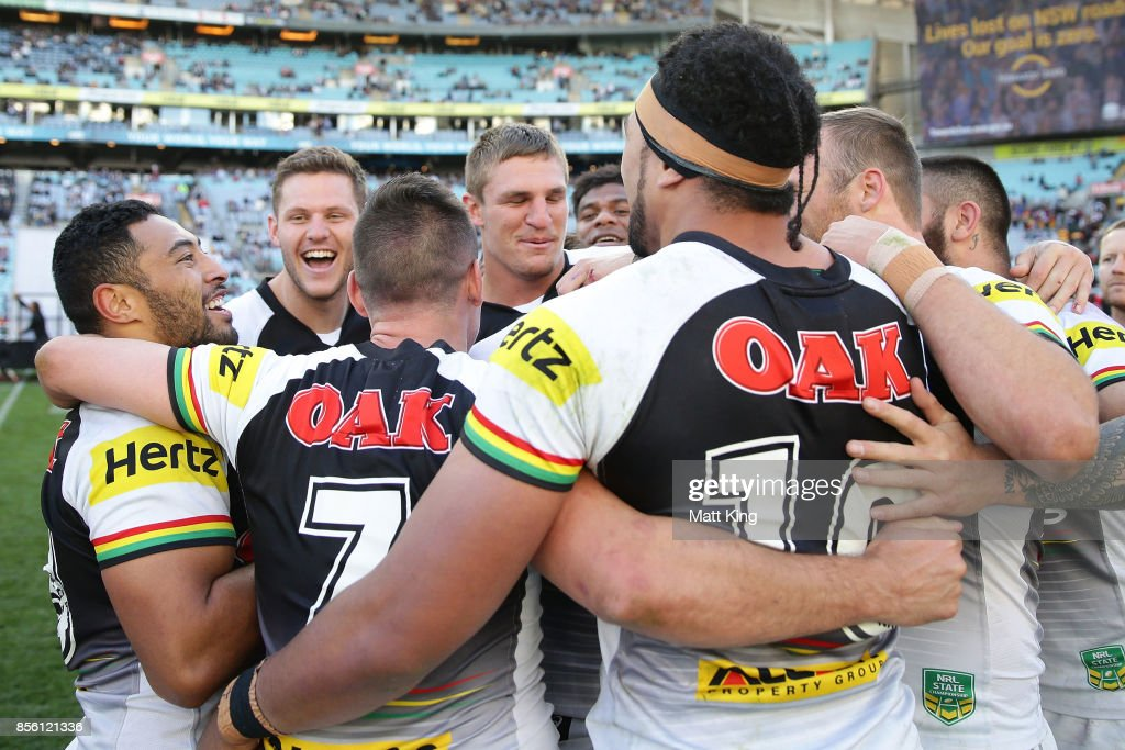 The Panthers celebrate after winning the 2017 State Championship Final between the Penrith Panthers and Papua New Guinea Hunters at ANZ Stadium on October 1, 2017 in Sydney, Australia.