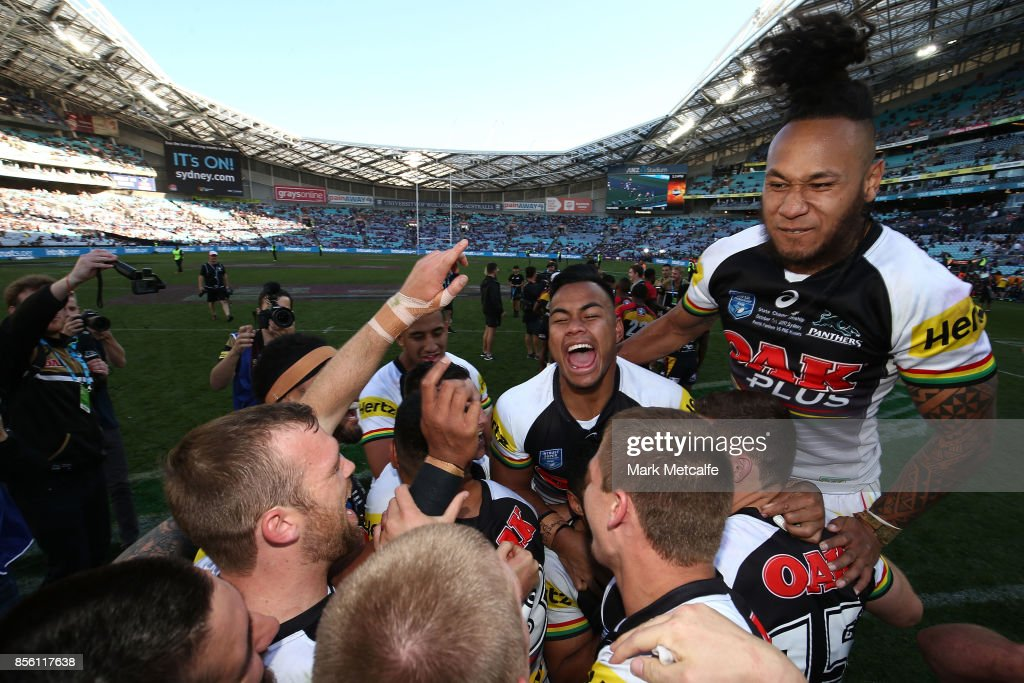 The Panthers celebrate winning the 2017 State Championship Final between the Penrith Panthers and Papua New Guinea Hunters at ANZ Stadium on October 1, 2017 in Sydney, Australia.