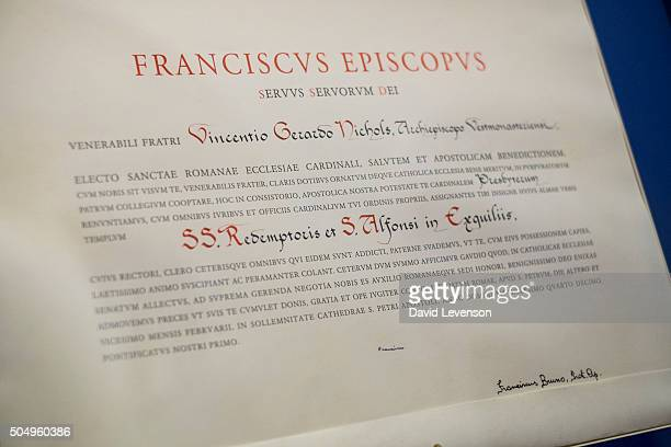 The Papal Bull issued and signed by Pope Francis in February 2014 creating Archbishop Vincent Nichols a Cardinal It sits framed on the wall outside...