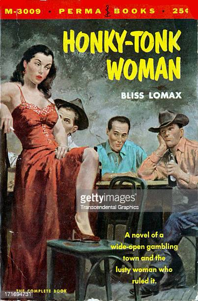 The paperback novel 'HonkyTonk Woman' employs a lurid scene on the cover printed circa 1950 in New York City