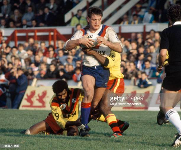 The Papua New Guinea defence stops Andy Goodway of Great Britain during a Rugby League World Cup match at Wigan on 24th October 1987 Great Britain...