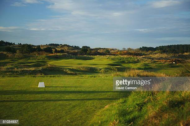 The par 3 14th hole at Royal Birkdale Golf Club on April 21 2004 in Birkdale England