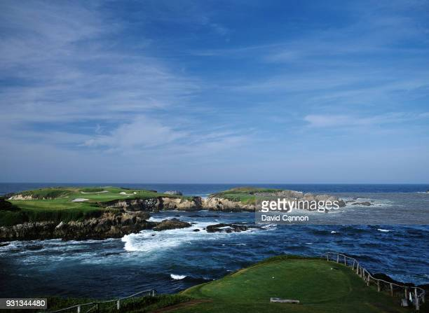The par 3 16th hole at Cypress Point Golf Club on September 21 1992 in Pebble Beach California United States