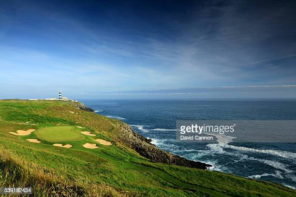 The par 3, 16th hole at the Old Head of Kinsale Golf Links on June 07, 2016 in Kinsale, Ireland.