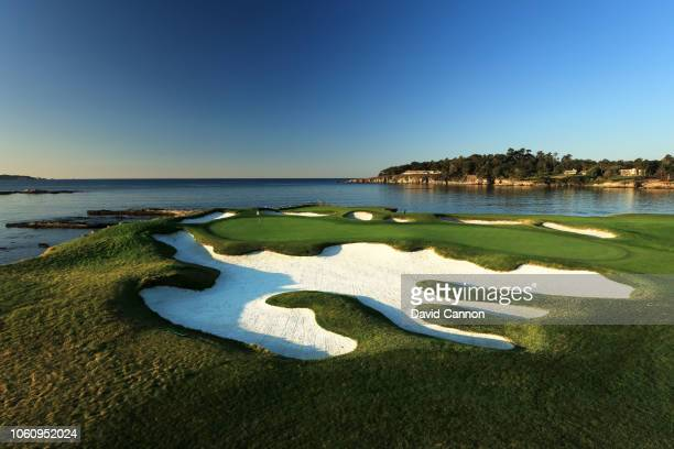 The par 3 17th hole at Pebble Beach Golf Links the host venue for the 2019 US Open Championship on November 9 2018 in Pebble Beach California