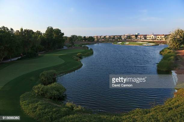 The par 3 17th hole on the Earth Course designed by Greg Norman at Jumeirah Golf Estates on February 4 2018 in Dubai United Arab Emirates