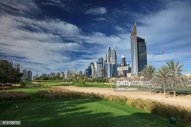 The par 3 17th hole on the Faldo Course at The Emirates Golf Club on January 31 2018 in Dubai United Arab Emirates