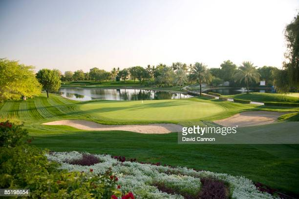 The par 3 7th hole on the Majilis Course at the Emirates Golf Club on January 21 2009 in Dubai United Arab Emirates