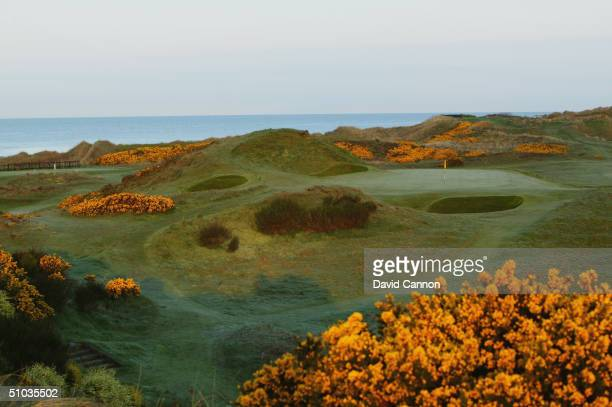 The par 3 'Postage Stamp' 8th hole in the early morning on the Royal Troon Golf Course on April 29 2004 in Troon Scotland