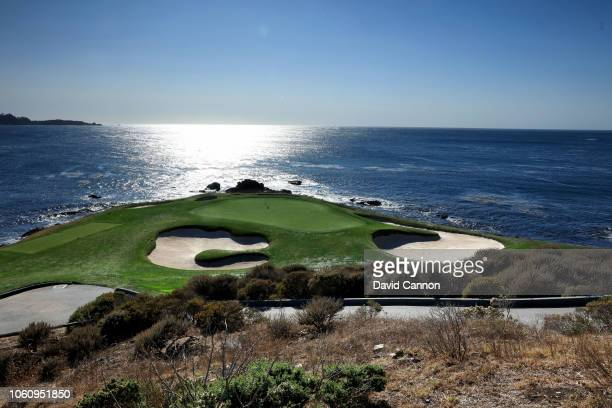 The par 3 seventh hole at Pebble Beach Golf Links the host venue for the 2019 US Open Championship on November 8 2018 in Pebble Beach California