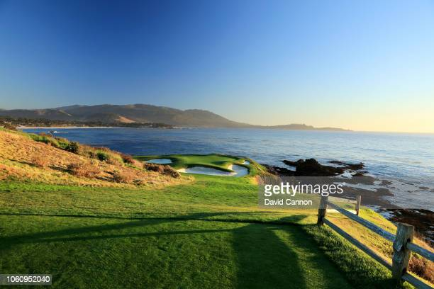 The par 3 seventh hole at Pebble Beach Golf Links the host venue for the 2019 US Open Championship on November 7 2018 in Pebble Beach California