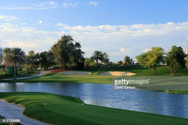 The par 3 seventh hole on the Majlis Course at The Emirates Golf Club on January 31 2018 in Dubai United Arab Emirates