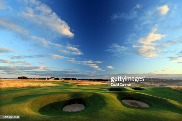 The par 4 12th hole at The Honourable Company of Edinburgh Golfers at Muirfield on August 31 in Gullane Lothian Scotland