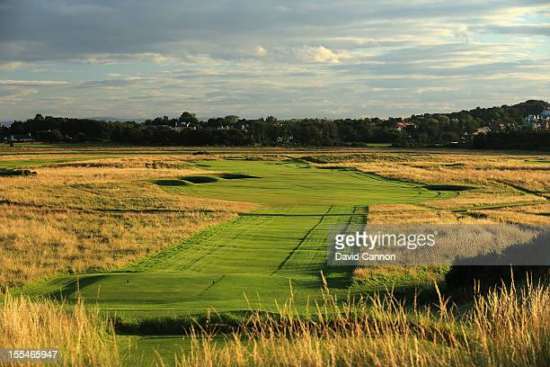 The par 4 14th hole at The Honourable Company of Edinburgh Golfers at Muirfield on August 31 in Gullane Lothian Scotland
