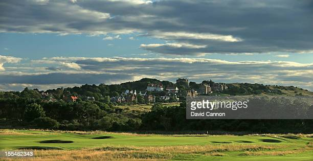 The par 4 15th hole with the town of Gullane behind at The Honourable Company of Edinburgh Golfers at Muirfield on August 31 in Gullane Lothian...