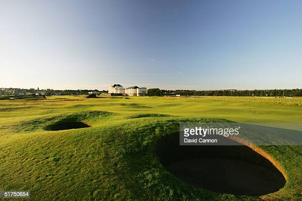 The par 4 16th hole on the Old Course at St Andrews venue for the 2005 Open Championship on August 21 2004 in St Andrews Scotland