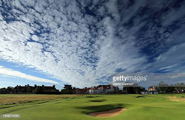 The par 4 18th hole with The Greywalls Hotel and the clubhouse behind the green at The Honourable Company of Edinburgh Golfers at Muirfield on August...