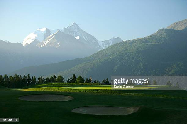 The par 4 7th hole on the Crans Sur Sierre Golf Club Crans Montana on July 21 2005 in Crans Montana Switzerland