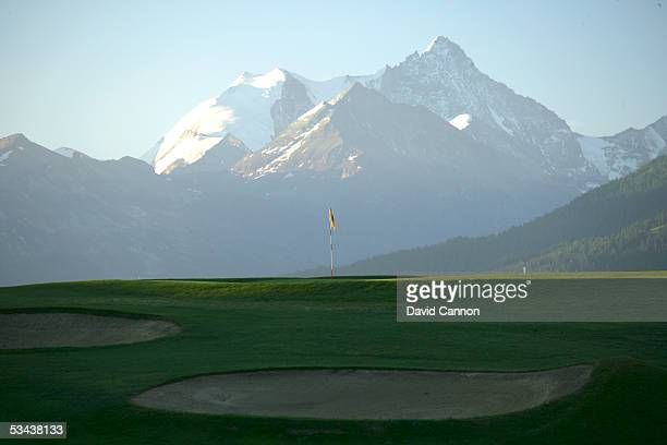 The par 4 7th hole on the Crans Sur Sierre Golf Club Crans Montana on July 21 2005 in Crans Montana Switzerland