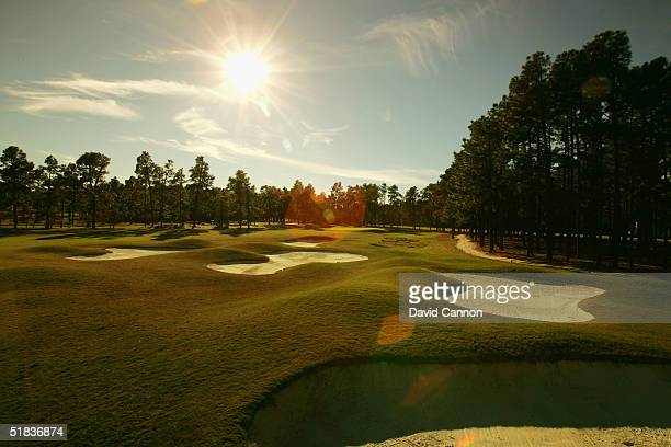 The par 4 7th hole on The Pinehurst No 2 Course venue for the 2005 US Open on November 14 in Pinehurst North Carolina USA