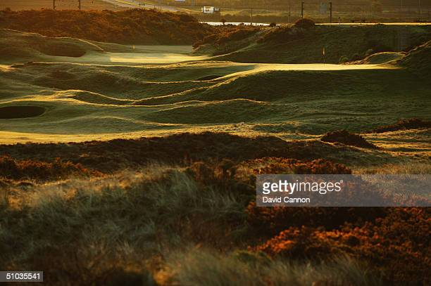 The par 4 7th hole with the par 3 'Postage Stamp' to the right on the Royal Troon Golf Course on April 29, 2004 in Troon, Scotland.