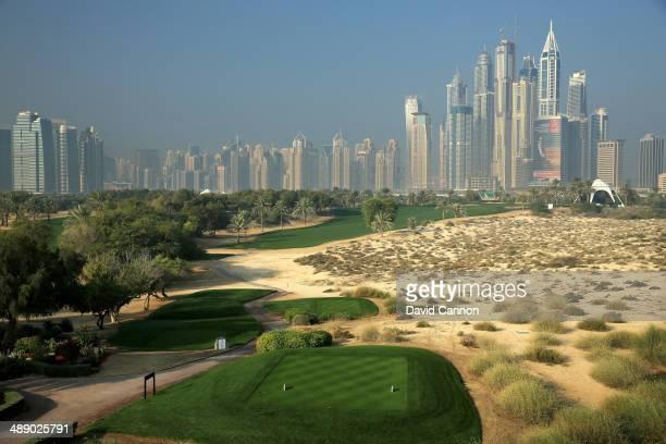 The par 4 8th hole on the Majlis Course at the Emirates Golf Club on January 28 2014 in Dubai United Arab Emirates