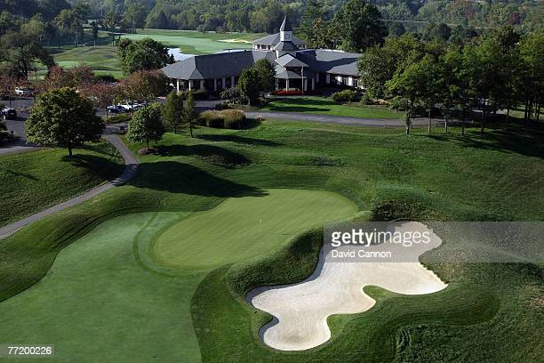 The par 4 9th hole with the clubhouse behind at Valhalla Golf Club venue for the 2008 Ryder Cup Matches on October 4 2007 in Louisville Kentucky