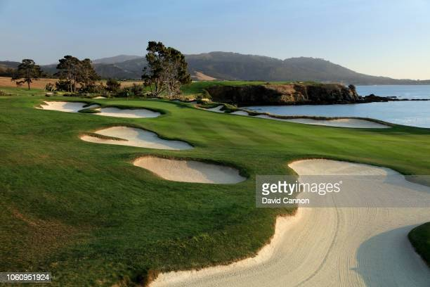 The par 4 fourth hole at Pebble Beach Golf Links the host venue for the 2019 US Open Championship on November 8 2018 in Pebble Beach California