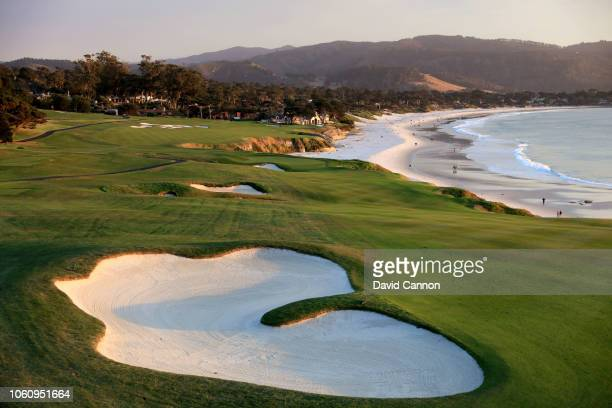 The par 4 ninth hole at Pebble Beach Golf Links the host venue for the 2019 US Open Championship on November 8 2018 in Pebble Beach California