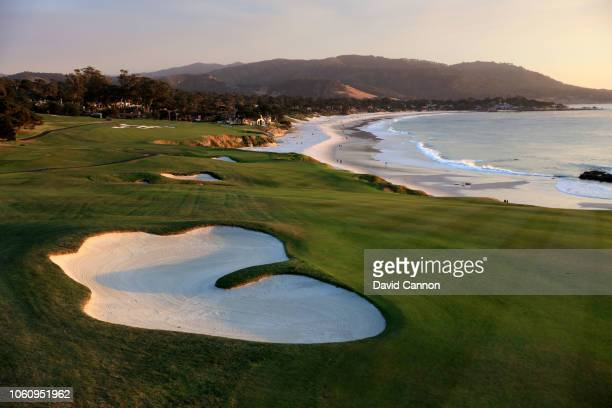 The par 4, ninth hole at Pebble Beach Golf Links the host venue for the 2019 US Open Championship on November 8, 2018 in Pebble Beach, California.