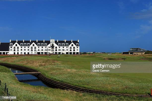 The par 4 or 5 depending on the tees used 18th hole with the hotel and new clubhouse on the Championship Course at Carnoustie Golf Club on August 3...