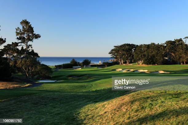 The par 4 third hole at Pebble Beach Golf Links the host venue for the 2019 US Open Championship on November 9 2018 in Pebble Beach California