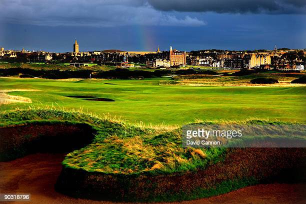 The par 5 14th hole which shares it's green with the 4th hole is protected by the famous 'Hell Bunker' on the approach to the green on the Old Course...