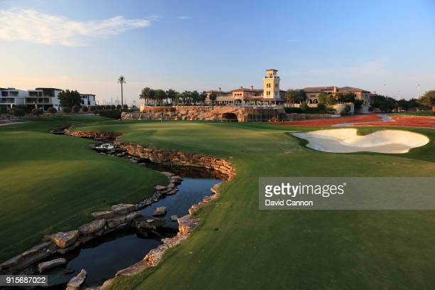 The par 5 18th hole with the clubhouse behind on the Earth Course designed by Greg Norman at Jumeirah Golf Estates on February 4 2018 in Dubai United...
