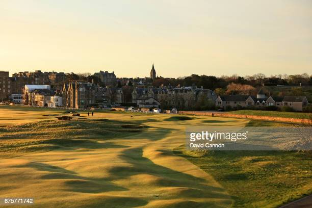 The par four 17th hole 'The Road Hole' of the Old Course at St Andrews taken from the Old Course Hotel on April 18 2017 in St Andrews Scotland