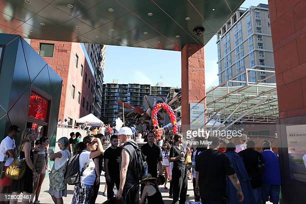 The parade crowd at MOCA during the Trespass Parade through downtown Los Angeles and ending at the Museum of Contemporary Art to celebrate Pacific...