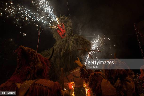 The parade finish with the masks around the bonfire celebrating the Winter Solstice on Janaury 7 2017 These solstice festivals which have their...