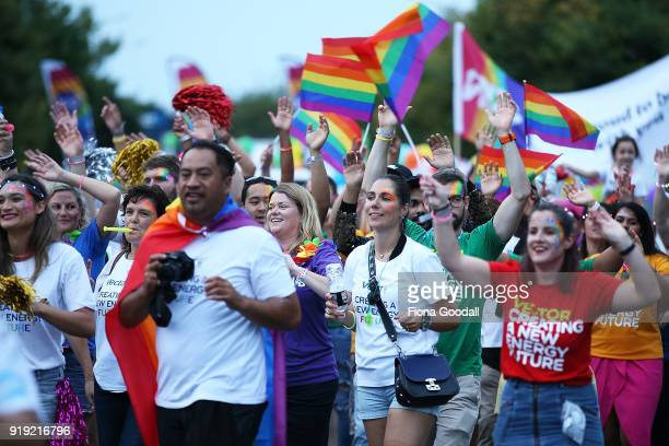 The parade heads down Ponsonby Road on February 17 2018 in Auckland New Zealand The Auckland Pride Parade is part of the annual Pride FestivaL...