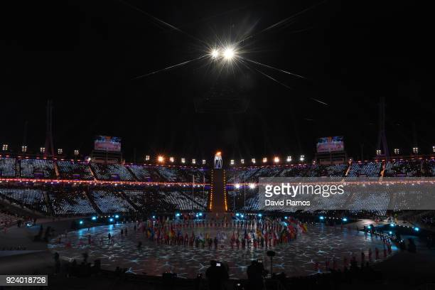 The Parade of Athletes begins during the Closing Ceremony of the PyeongChang 2018 Winter Olympic Games at PyeongChang Olympic Stadium on February 25,...