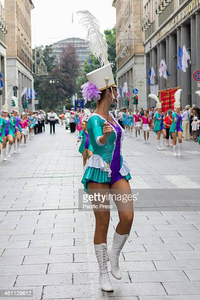 The parade of Bands and Majorettes march through the streets in the centre districts of Turin before the feast of St John
