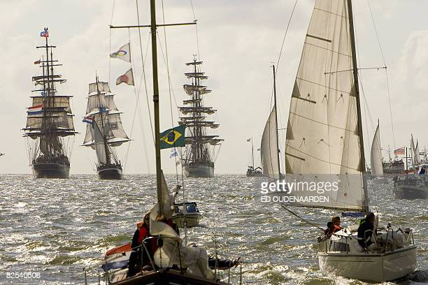 The Parade of Sail over 70 tall ships sailed along the harbour of Den Helder on August 23 2008 The Parade is part of the Tall Ships Races an anual...