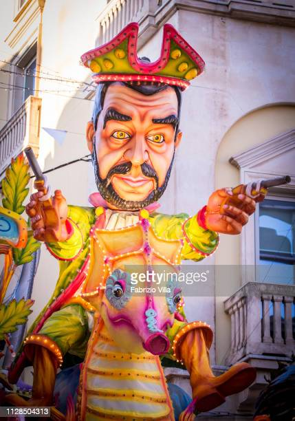 The parade of the allegorical float dedicated to European politics with the detail on Matteo Salvini March 2 2019 in Acireale Italy The carnival of...