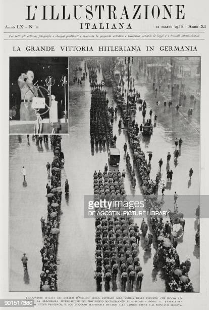 The parade of the assault units on the eve of the elections of March 5 which marked the victory of the Nazi party Berlin Germany on top left...