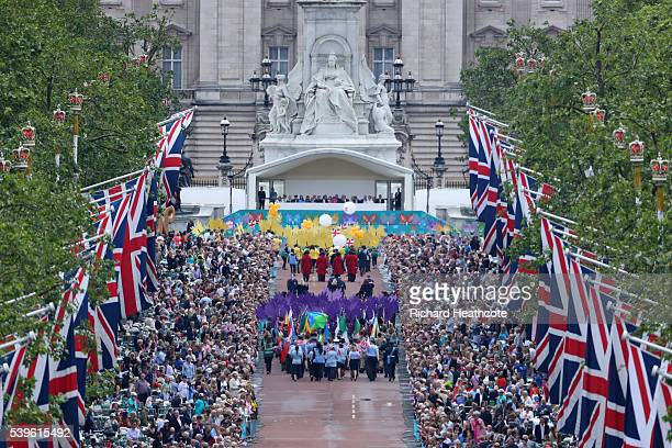 The parade travels towards the Royal Box down The Mall during 'The Patron's Lunch' celebrations for The Queen's 90th birthday on June 12 2016 in...